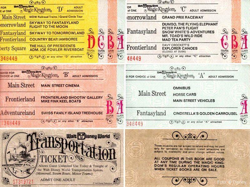 ingressos de 1971, ano de inauguração do walt disney world